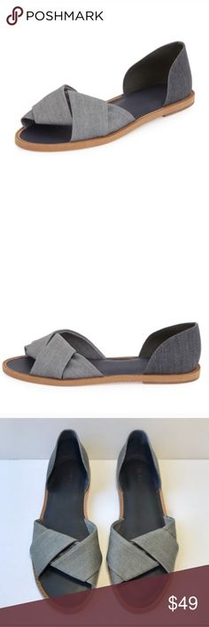 """{vince} Idara d'orsay sandal Blue matte washed denim style upper. 0.5"""" heel sandals are very stylish and comfortable! Pleated toe strap. VGUC. Gorgeous shoes for many occasions. Vince Shoes Sandals"""