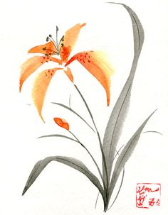 Greeting Card Tiger Lily 5x7 Blank Inside by KelliMcNicholsArt, $3.50