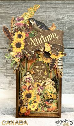 A Creative Journey: Autumn Home Decor Tray for Graphic 45 by Katelyn Grosart. This tray features the Seasons Paper Collection.