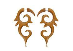 Wood Earring Fake Gauge Spiral Faux Gauge earrings. by NELAJAPAN