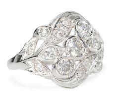 Grand Diamond Platinum Cocktail Ring - The Three Graces
