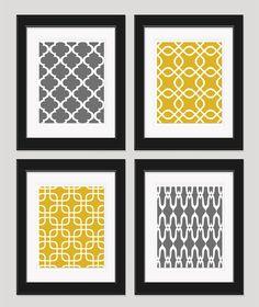 Art gris jaune, Art moderne, or Wall Art, décoration, Art géométrique, jaune gris chambre, Art de la salle à manger, salon Art de mur