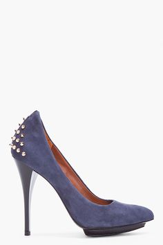 Mcq Alexander Mcqueen Navy Suede Studded Pumps  Suede pumps in navy. Pointed toe. Stud detail at heel. Tapered stiletto heel. Leather sole. Tone on tone stitching. Approx. 1 platform. 4.75 heel.