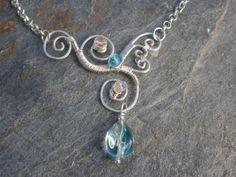 Wire Wrapped Necklace Glass Teardrop and Czech by chloebristow, $45.00