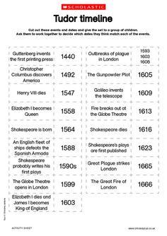 Tudor timeline worksheet FREE