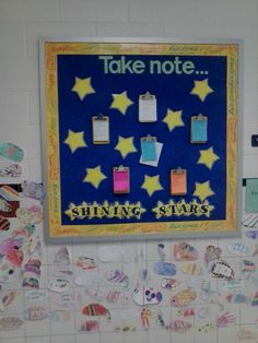 Shining Stars: Students and staff recognizing one another. Fish on wall are from a diversity lesson. Counseling Bulletin Boards, School Counseling, Employee Recognition, Recognition Ideas, Workplace Motivation, Job Coaching, Employee Morale, Employee Appreciation, Shining Star