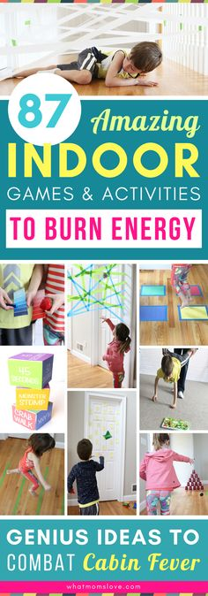 These fun and easy indoor activities for kids are genius! Tons of DIY creative games and gross motor activities you can do at home in the winter on snow days or spring and summer on hot or rainy days - perfect for combatting cabin fever! Gross Motor Activities, Rainy Day Activities, Summer Activities, Cabin Fever, Energy Kids, High Energy, Kids Obstacle Course, Genius Ideas, Kids Party Games