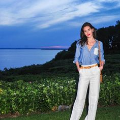 Who:  @hilaryhrhoda  Rhoda was the epitome of Hamptons glam in a Solid & Striped chambray top and white linen pants. Her punchy red lip and leather belt made for the perfect finishing touches.