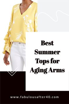 Whether you are trying to camouflage jiggly arms, prevent sunburn or stay warm in the air conditioning, there are many reasons you may prefer to wear tops with sleeves. The only problem is, how do you find one that doesn't look or feel too hot, heavy, and matronly? Here are some of the best spring tops with sleeves for aging arms. #womensfashion #over40 #springstyle Over 50 Womens Fashion, Fashion Over 50, Spring Tops, Summer Tops, Dressing Your Body Type, Cool Style, My Style, Aging Gracefully, Airport Style