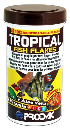 Tropical fish flakes je popolna krmna mešanica za tropske ribe v naši ponudbi ribje hrane. S popolno krmno mešanico mislimo na hrano, ki lahko zadovolji veliko število vrst akvarijskih rib, kar pomeni, da ni namenjena samo določeni vrsti. Značilnost te mešanice hrane je, da vsebuje izbrane naravne sestavine, ki predstavljajo mešanico rib, zelenjave in žitaric.