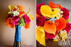 bright bouquet for beach wedding