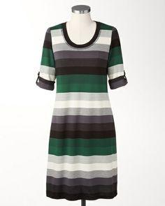 Emerald stripe dress | Coldwater Creek