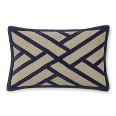 Line Pattern Velvet Applique Pillow Cover, Navy | Williams-Sonoma