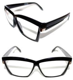 Men's Vintage Hip Hop Clear Lens Eye Glasses 80's Thick Square Frame Black Slv #Spexx #Square