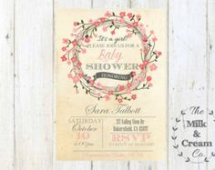 Vintage Girl Baby Shower  Invite,  Invitation with Pink Wreath, Simple Casual, Digital File, Pink