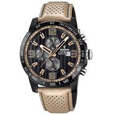 New Festina 'The Originals Collection' Men's Quartz Watch Black Dial Chronograph Display Beige Leather Strap online - Newtopbrands Omega Seamaster Quartz, Rose Gold Apple Watch, Watches Photography, Black Apple, Armani Watches, Hand Watch, Bracelet Cuir, Watch Sale, Shopping
