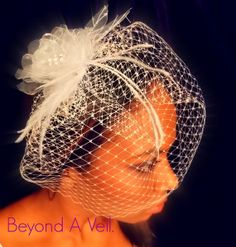 Birdcage wedding veil with Crystal Clear Fascinator by Beyondaveil on Etsy, $60.00