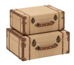 2 Piece Burlap Suitcase Trunk Set