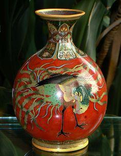 Fine Japanese enamel cloisonne vase Honda