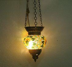 Moroccan lantern mosaic hanging lamp glass chandelier light lampen candle h 082  #Handmade #Moroccan