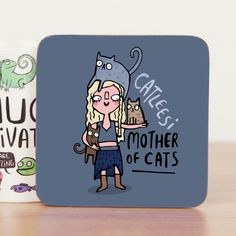 Catleesi - Game of Thrones - Khaleesi - Cute Coaster - Pun - Cat Coaster - Gift for him - Gift for her - Motivation - Teen Gift - Mat - Crazy Cat Lady, Crazy Cats, Game Of Thrones Khaleesi, Game Thrones, Game Of Thrones Birthday, Birthday Puns, 15th Birthday, Cute Coasters, Birthday Gifts For Teens