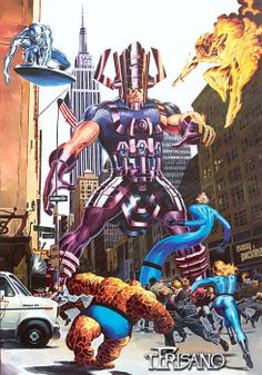 Galactus & Silver Surfer vs The Fantastic Four by Thomas Frisano *
