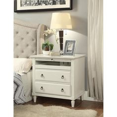 Madison Antique White Wood Nightstand with Charging Station Nightstand With Charging Station, 3 Drawer Nightstand, White Nightstand, Nightstands, Nightstand Ideas, Bedroom Furniture Stores, Furniture Deals, Living Room Furniture, Furniture Outlet