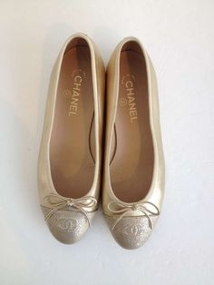 Chanel Gold Leather Ballet Flat