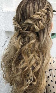 Popular Homecoming Hairstyles That'll Steal the Night: BOHO, HALF UPDO BRAID; The post Popular Homecoming Hairstyles That'll Steal the Night appeared first on Suggestions. Fishtail Hairstyles, Fancy Hairstyles, Trending Hairstyles, Night Hairstyles, Prom Hairstyles For Long Hair Half Up, Sweet 16 Hairstyles, Easy Homecoming Hairstyles, Prom Hairstyles With Braids, Easy And Cute Hairstyles