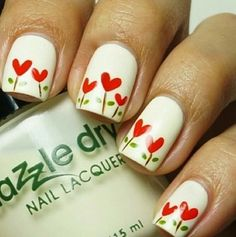 Heart flower nails #cute