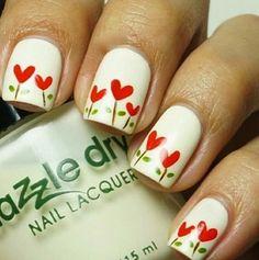 Heart flower nails #cute