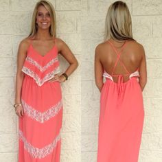 Pretty in coral! This gorgeous coral and lace maxi features a flouncy top that we fell in love with the second we saw it! Love the back detail as well!