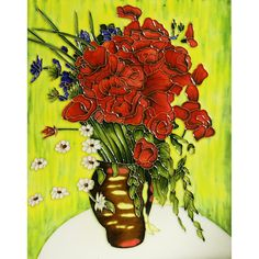 'Vase with Daisies and Poppies' by Vincent Van Gogh Wall Art