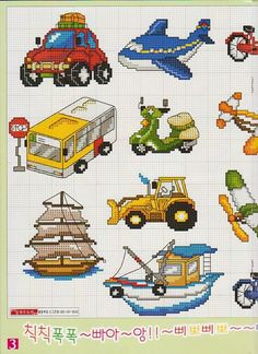 Boats, cars, planes 1 of 2 Cross Stitch Boards, Cross Stitch For Kids, Cross Stitch Baby, Cross Stitch Samplers, Counted Cross Stitch Patterns, Cross Stitch Designs, Cross Stitching, Cross Stitch Embroidery, Cross Stitch Collection