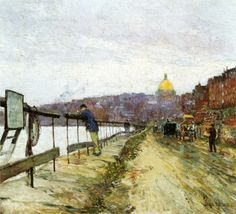 Childe Hassam (American 1859–1935) [American Impressionism, The Ten] Charles River and Beacon Hill, 1890-1892.