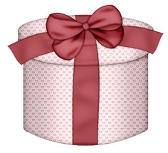 Pink Hearts Round with Red Bow Gift Box PNG Clipart