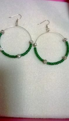 Green Beaded Memorywire Hoop Earrings  | LOVE33 - Jewelry on ArtFire