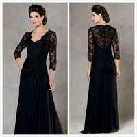 2015 Plus Size Black Lace Beads Pleated Chiffon Formal Mother Of The Bride Dresses Groom Gown With 3/4 Sleeve E848