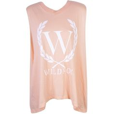 Wildfox Laurel Muscle Tank - Conch (71 AUD) ❤ liked on Polyvore featuring tops, shirts, tank tops, tanks, t-shirts, pink shirt, high neck tank top, pink tank, wildfox tank and pink top