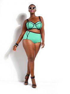 Monif C. - Plus Size Trendy Swimsuits, Sexy Plus Size Swimwear, Plus Size High Waisted Bikini - Monif C