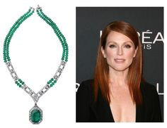 """Julianne Moore – Best Actress nominee for Still Alice Cartier – Royal Collection """"Viracocha"""" Necklace in platinum set with a 26.6-carat Colombian emerald, diamonds and emerald beads"""