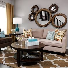 Love these cog mirrors! Back in stock! Saskatoon country modern style