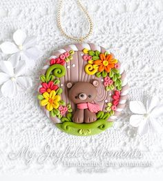 Handcrafted Polymer Clay Fall Floral Bear Ornament