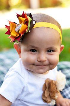 First Thanksgiving Combo Bow Baby Headband by KinleyKate on Etsy
