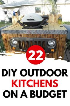 Learn how to build an outdoor kitchen on a budget. Easy outdoor upgrade with these inexpensive outdoor kitchen ideas. 22 DIY outdoor kitchens for your small backyard or big yard. Build Outdoor Kitchen, Outdoor Kitchen Design, Outdoor Kitchens, Outdoor Spaces, Outdoor Living, Outdoor Sinks, Lounge Party, Diy Outdoor Furniture, Diy Patio