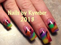 """Allison came in a few months ago with a picture of nails done in rainbow acrylic.   Today she needed a new set of nails and allowed me creative freedom.    I changed the colorblocked rainbow lines to free flowing, almost """"tye dyed"""" rainbow nail tips with Creative Intense Pink acrylic base.  It softened the rainbow effect and it allowed her natural nail to show through while keeping her wild expressive side still wild and....... Expressive.  These are A--- wait for it-----Mazing!"""