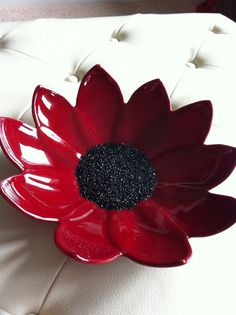 Red Fused Glass Flower Bowl by SeaShellsGlass on Etsy