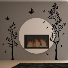 tree around a fireplace