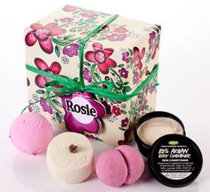Lush Gifts - Rosie  Fill your noses with the beautiful scent of roses. Four sophisticated, romantic and beautifying treats for your shower and bath. £15.25