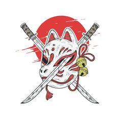 Demon Drawings, Sword Drawing, Mask Drawing, Japanese Drawings, Japanese Art, Japanese Style, Der Alchemist, Japanese Demon Tattoo, Japanese Fox Mask